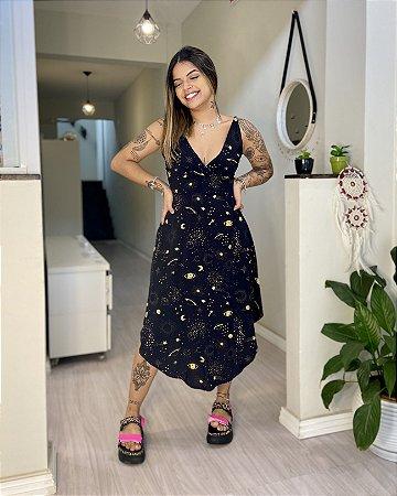 Vestido Midi Thai - Meu Universo Preto