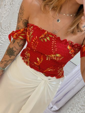 Cropped Aline - Vermelho Floral