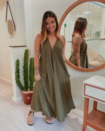 Vestido Amplo Antonella - Verde Militar