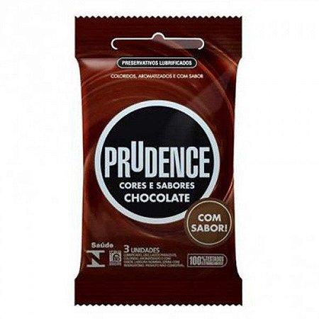 Preservativos Prudence Cores e Sabores Chocolate Com 3 Unidades