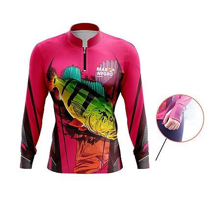 Camisa De Proteção Mar Negro Fem Est Peixes Luvinha Tucunare Rosa