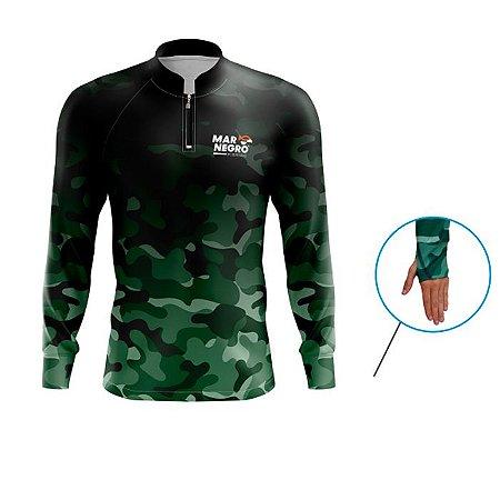 Camiseta De Proteção Mar Negro Fishing Masc Peixes C/ Luvinha Camuflado
