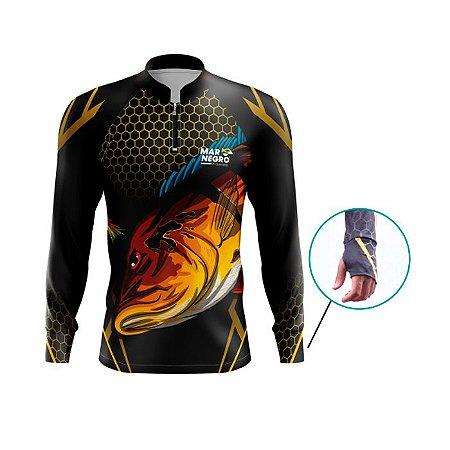 Camiseta De Proteção Mar Negro Fishing Masc Peixes Tucunaré C/ JIG