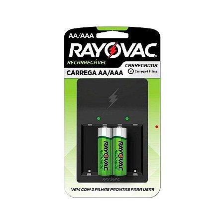 Carregador De Pilhas Rayovac AA / AAA C/ 2 Pilhas AA