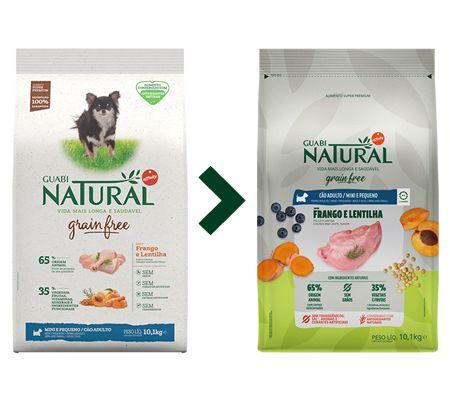 Ração Guabi Natural Grain Free Cão Adulto Mini e Pequeno Frango e Lentilha