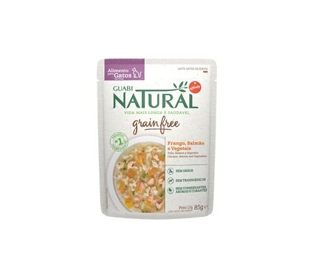 Guabi Natural Grain Free Sachê Gato Adulto Castrado Frango, Salmão e Vegetais 85g
