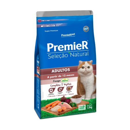 Ração Premier Seleção Natural para Gatos Adultos Sabor Frango Korin Premier