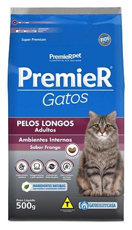 Ração Premier Ambientes Internos para Gatos Adultos com Pêlos Longos Sabor Frango Premier