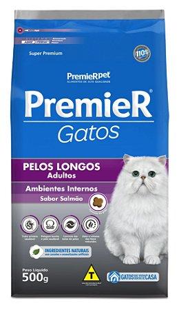 Ração Premier Ambientes Internos para Gatos Adultos com Pêlos Longos Sabor Salmão Premier