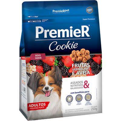 Biscoito Premier Cookie para Cães Adultos Pequeno Porte Sabor Frutas Vermelha e Aveia 250g