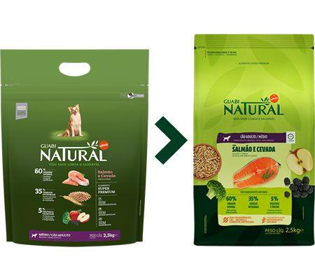 Ração Guabi Natural para Cães Adultos Porte Médio Sabor Salmão e Cevada