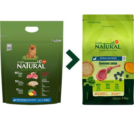 Ração Guabi Natural para Cães Adultos Porte Mini e Pequeno Sabor Cordeiro e Aveia