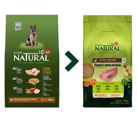 Ração Guabi Natural para Cães Sênior Porte Médio e Grande Sabor Frango e Arroz Integral 12kg