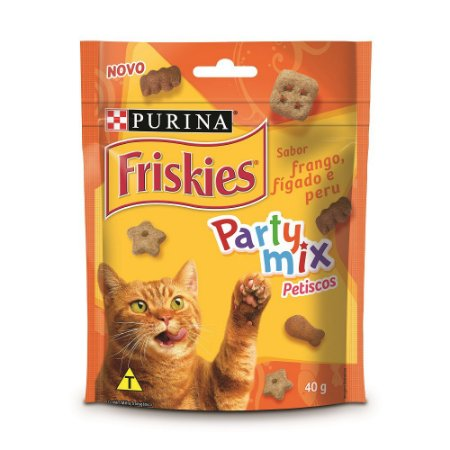 Friskies Petisco para Gatos Adultos Party Mix Frango Fígado e Peru 40g