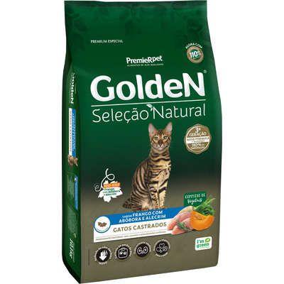 Ração Golden Seleção Natural para Gatos Adultos Castrados Frango com Abobora e Alecrim