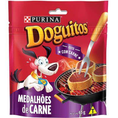 Doguitos Petisco para Cães Medalhões De Carne 65g