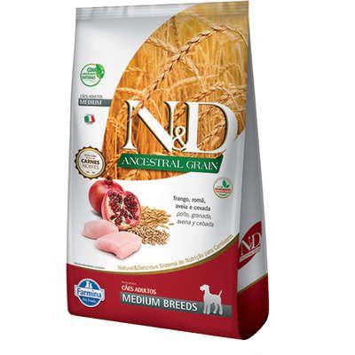 Ração ND N&d Ancestral Grain Low Grain para Cães Adultos Frango Medium Breeds Raças Médias
