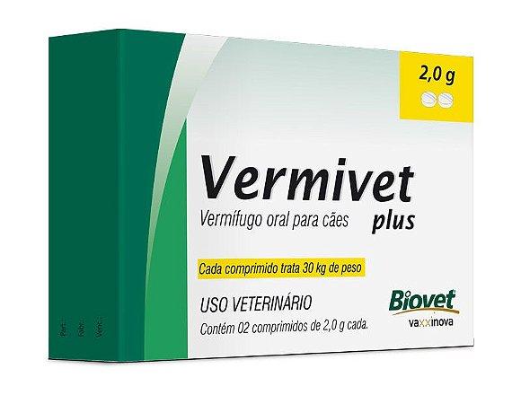 Vermífugo Vermivet Plus para Cães 2 Comprimidos 2,0g