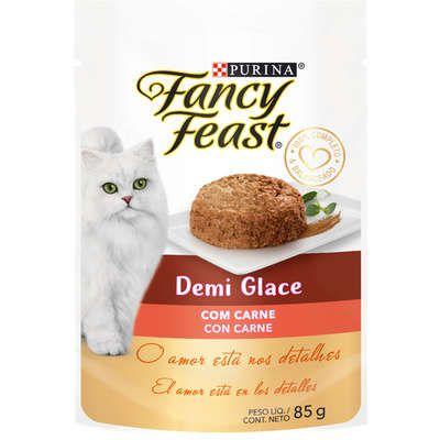 Racão Úmida Purina Fancy Feast Sachê Demi Glace com Carne para Gatos Adultos 85g