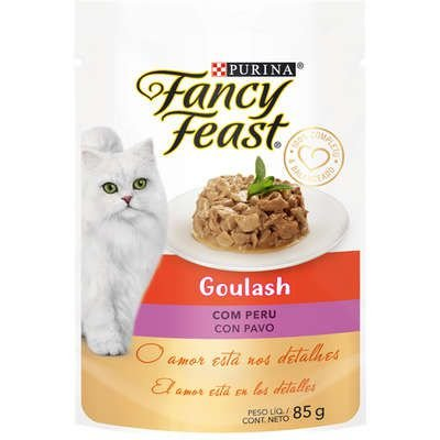 Racão Úmida Purina Fancy Feast Sachê Goulash com Peru para Gatos Adultos 85g