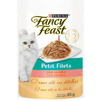 Racão Úmida Nestlé Fancy Feast Sachê Petit Filets com Salmão para Gatos Adultos 85g