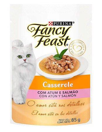 Racão Úmida Purina Fancy Feast Sachê Casserole com Atum e Salmão para Gatos Adultos 85g
