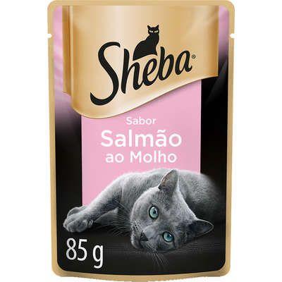 Ração Úmida Sheba Sachê Cortes Selecionados Sabor Salmão ao Molho para Gatos Adultos 85g