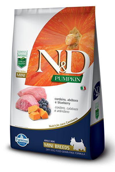 Ração ND N&D Pumpkin Grain Free para Cães Adultos Cordeiro Mini Breeds Raças Pequenas