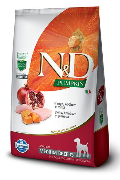 Ração ND N&D Pumpkin Grain Free para Cães Adultos Frango Medium Breeds Raças Médias 10kg
