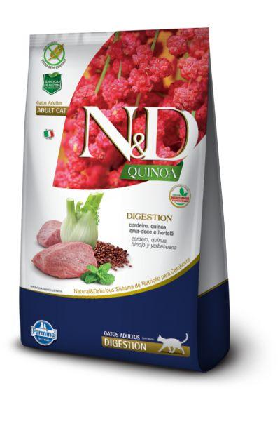 Ração ND N&D Quinoa Grain Free para Gatos Digestion Adultos Cordeiro