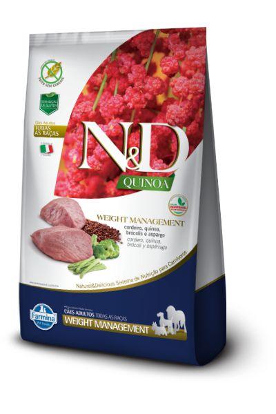 Ração ND N&D Quinoa Grain Free para Cães Weight Management Adultos Cordeiro
