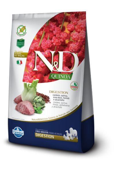 Ração ND N&D Quinoa Grain Free para Cães Digestion Adultos de Todas as Raças Cordeiro