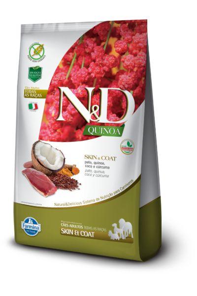 Ração ND N&D Quinoa Grain Free para Cães Skin Coat Adultos de Todas as Raças Pato