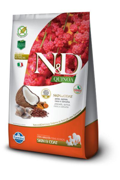 Ração ND N&D Quinoa Grain Free para Cães Skin Coat Adultos de Todas as Raças Peixe