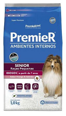 Ração Premier Ambientes Internos para Cães Senior Raças Pequenas Mini Bits Sabor Frango e Salmão