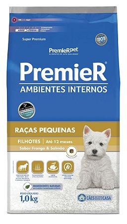 Ração Premier Ambientes Internos para Cães Filhotes Raças Pequenas Mini Bits Sabor Frango e Salmão