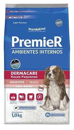 Ração Premier Ambientes Internos para Cães Adultos Dermacare Raças Pequenas Mini Bits Sabor Frango e Salmão