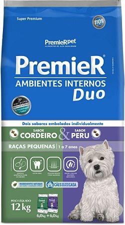 Ração Premier Ambientes Internos Duo para Cães Adultos Sabor Cordeiro e Peru 12kg
