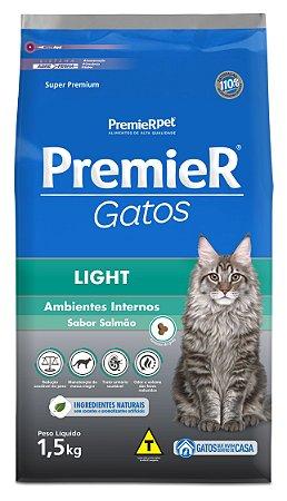 Ração Premier Ambientes Internos para Gatos Adultos Light Sabor Salmão