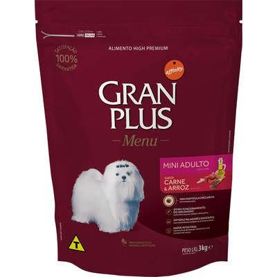 Ração Affnity Gran Plus Menu para Cães Mini Adultos Sabor Carne e Arroz