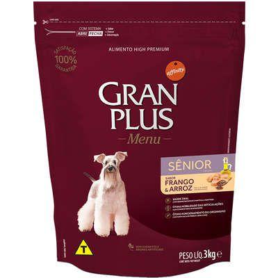 Ração Affnity Gran Plus Menu para Cães Médios e Grandes Senior Sabor Frango e Arroz