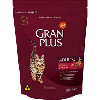 Ração Affnity Gran Plus para Gatos Adultos Sabor Carne e Arroz