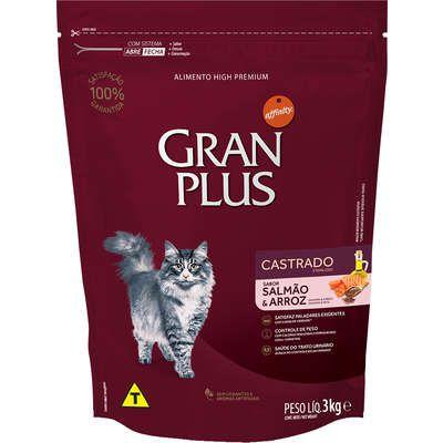 Ração Affnity Gran Plus para Gatos Castrados Adultos Sabor Salmão e Arroz