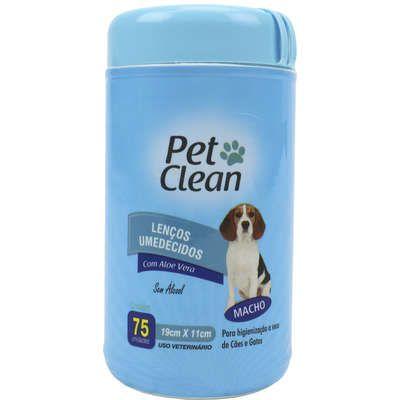 Lenços Umedecidos Pet Clean Azul  para Cães