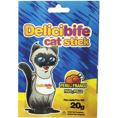 Petisco Delicibife Cat Stick Sabor Peru e Frango 20g