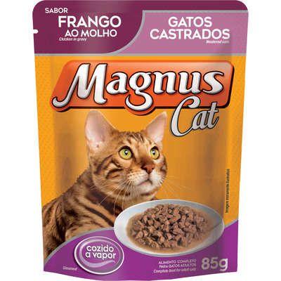 Ração Úmida Magnus Cat Sachê Frango ao Molho para Gatos Castrados 85g
