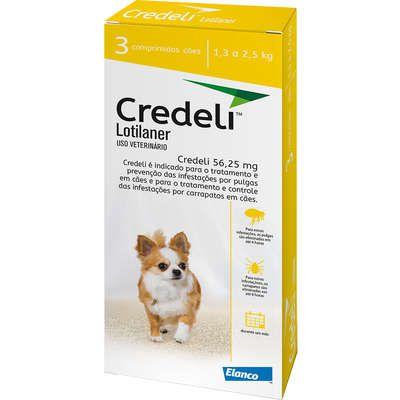 Antipulgas e Carrapatos Elanco Credeli para Cães de 1,3 a 2,5 Kg 3 Comprimidos
