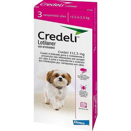 Antipulgas e Carrapatos Elanco Credeli Para Cães de 2,5 a 5,5 Kg 3 Comprimidos
