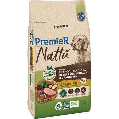 Ração Premier Nattu Cães adultos Sabor Frango e Mandioca