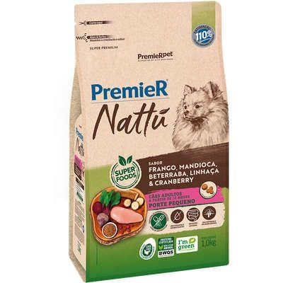 Ração Premier Nattu Cães adultos Raças Pequenas Sabor Frango e Mandioca